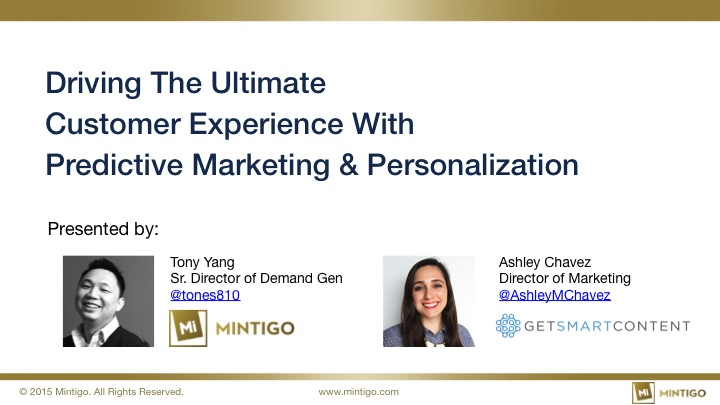Driving Customer Experience with Predictive & Personalization - 20150409 title image